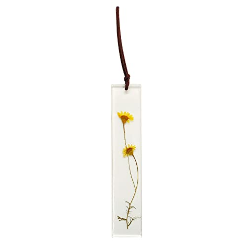 Bookmark Resin Floral Handmade Bookmark with Natural Dried Flower - Yellow Chrysanthemum