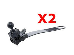 Lot of 2 Strap Bicycle handlebar Mount with 17mm ball joint for all Garmin Nuvi GPS