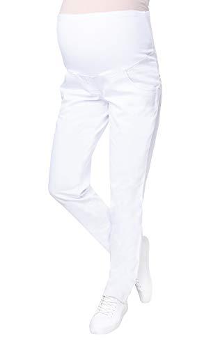 Mija – Pantalones vaqueros elegantes delgados Denim Maternidad 9044 (EU 40, Blanco)
