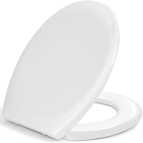 Pipishell Toilet Seat, Soft Close Toilet Seat White with Quick Release for Easy Clean, Top Fixing, Stay Tight Toilet Lid Oval Shape, Heavy Duty Urea-Formaldehyde Anti-Bacterial Material
