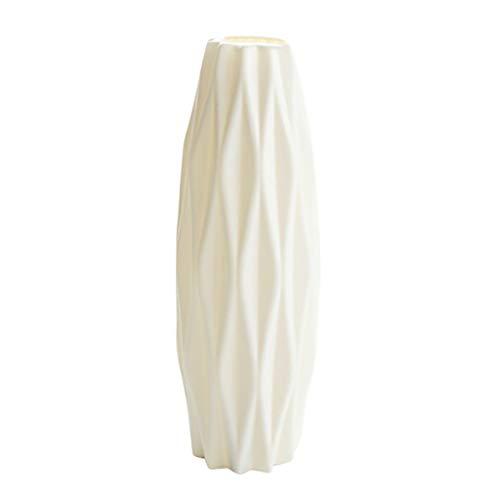 FeiliandaJJ Vase für Pampasgras, Handgefertigte Bruchsicher Vase Deko Modern Geriffelte Blumenvase Tisch Vase Wohnzimmer Zuhause Hochzeit Dekor Tischdeko (Weiß)