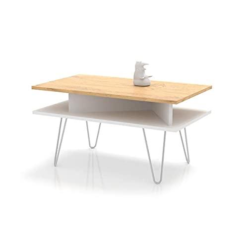 Inka - Mesa de Centro - mesita Salon - Mesa de Café - Elegante y con Estilo - Universal con Dos Estantes - Mesas de Centro Moderna - Mesa Comedor - Mesa Mediana 51x90x48cm (Lancelot - Blanco)