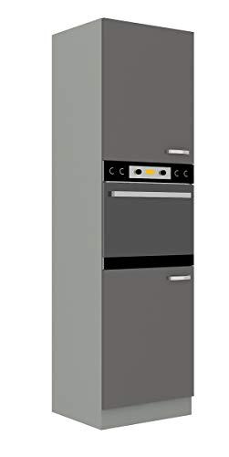 Küchen Hochschrank 60cm Hochglanz Grau Küchenzeile Küchenblock Küche Grey Bianca