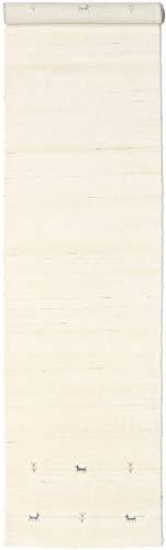 RugVista Teppich Gabbeh Loom Two Lines, Kurzflor, 80 x 350 cm, Läufer, Gabbeh, Wolle, Flur, Schlafzimmer, Wohnzimmer, Naturweiß
