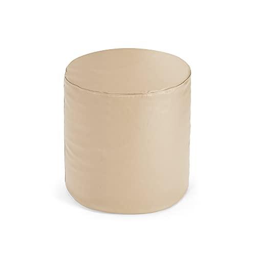 Bepouf Puf Sgabello Rotondo Inki Puff Poggiapiedi Pouf Morbido Ecopelle Pieno (Beige, 50x50 cm)