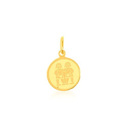 Colgante de oro amarillo de 9 quilates, medalla del signo del signo del zodiaco, 12/12 mm, peso: 0,33 g.