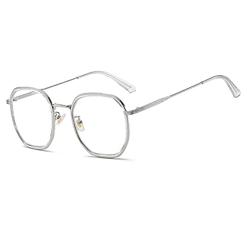 Gafas De Sol Gafas De Sol Cuadradas De Lujo para Mujer Y Hombre, Gafas De Sol con Montura De Metal Vintage para Hombre Y Mujer, Montura De Gafas Transparentes Uv400 C9, Plateado-Transparente