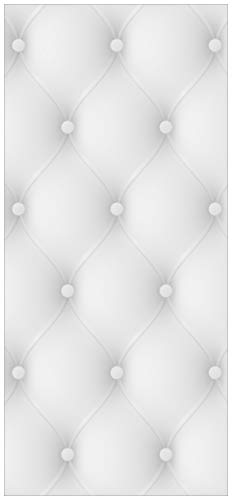 Wallario Selbstklebende Türtapete Weiße Ledertür - 93 x 205 cm in Premium-Qualität: Abwischbar, Brillante Farben, rückstandsfrei zu entfernen
