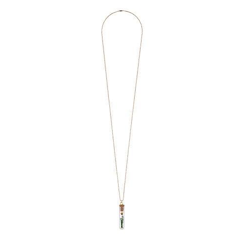 Collar Tubo de ensayo jarrón de flores (cadena de oro diseño de...
