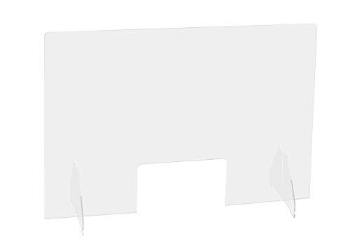Exacompta Schutzwand Exascreen 90 x 65cm glasklar selbststehend. Ideal für Schreibtische, Behörden, Kassen, Theken und Schalter zum Schutz vor Viren und Bakterien Trennwand Spuckschutz