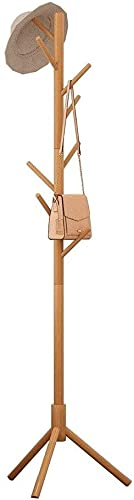 Standing Coat Rack Simple Wooden Coat Rack with 8 Hooks Elegant Design Hat Jacket and Sweater Hanger Easy to Assemble Suitable for Home Office Lobby and Entrance Passage Coat Rack Stand