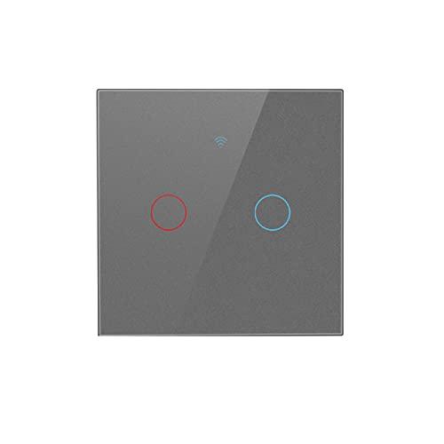 Interruptor de Luz Táctil de Pared Inteligente Wifi Panel de Cristal Control Remoto Inalámbrico por Aplicación Compatible con Alexa Y Google Home Función de Sincronización 1/2/3/4 gang