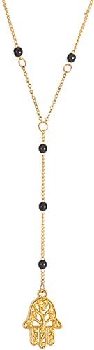 AMOZ Collar de Mano Hamsa Chapado en Oro Collar con Colgante de Talismán de Acero Inoxidable Mano de Fátima Collar con Cuentas Negras Joyería Judía