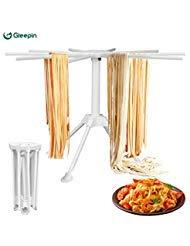 Estante de secado para pasta casera con 10 asas plegables, para hacer pasta fresca, espaguetis, soporte para secado de fideos (estante de secado de palma)