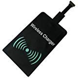 Saivia Android Universal Qi Standard Wireless Charging Receiver - Micro USB Wireless Charger Receiving Patch for All Android Mobile - Narrow - Interface Up, Black