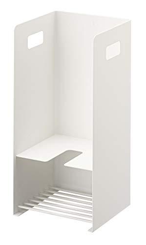 山崎実業(Yamazaki) 収納付きラバーカップスタンド ホワイト 約W17XD16XH36cm タワー トイレ つまり取りケース 5236