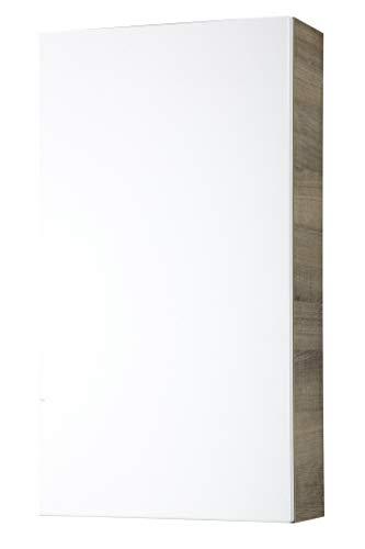 FACKELMANN Hängeschrank PIURO/Gedämpfte Scharniere/Maße (B x H x T): ca. 40 x 73,5 x 17 cm/hochwertiges Möbelstück/Türanschlag frei wählbar/Korpus: Braun hell/Front: Weiß Hochglanz