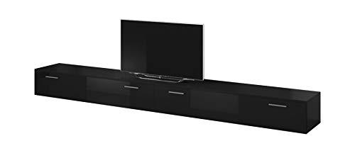 E-Com TV Möbel Lowboard Schrank Ständer Boston Korpus Schwarz/Front schwarz Hochglanz 300 cm
