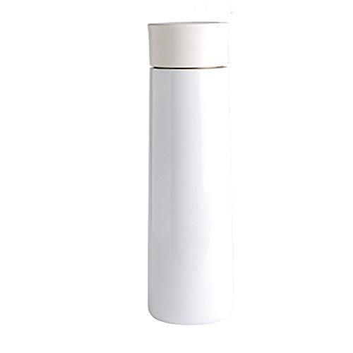 LKJJTG Termo Inteligente de medición de Temperatura, Termo de Pantalla LED para el hogar, Termo de Frasco de vacío de Doble Pared, Botella Deportiva, 400 ml-White