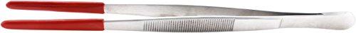 TropicShop Futterpinzette - Edelstahlpinzette mit Schutzgummi (gerade, ca. 30cm)