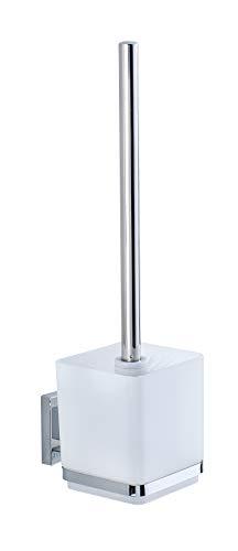 WENKO Vacuum-Loc® WC-Garnitur Quadro Edelstahl - WC-Bürstenhalter, Edelstahl rostfrei, 9.5 x 37 x 12.5 cm, Glänzend