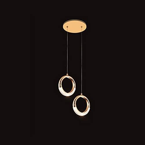 Wlgt Candelabro Circular Aluminio Anillo LED Iluminación Colgante Oro Rosa 5W Altura Ajustable Luz de Techo Montaje Dormitorio Moderno Lámpara Colgante para Comedor Cocina Pasillo 3000K
