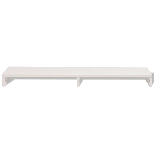 FTVOGUE- Monitor Stand, Chipboard Screen Stand, Monitor Riser, Data Transfer for 2 Monitors, White, 118 x 23.5 x 9 cm