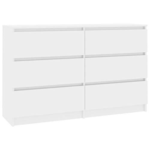 Festnight Sideboard mit 6 Schubladen Kommode Schrank Anrichte Highboard Standschrank Hochglanz-Weiß 120×30×77 cm Spanplatte