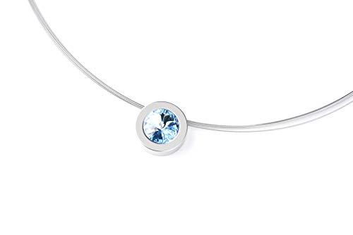 Hegedüs Damen Collier aus Titan mit Halsanhänger Rund Brillantschliff Swarovski-Kristall Aquamarine