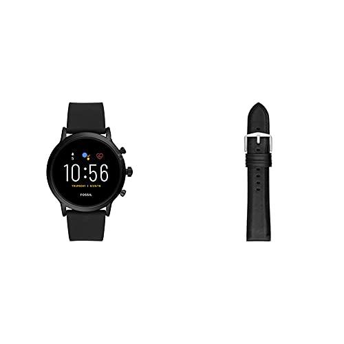 Fossil Smartwatch Gen 5 para Hombre con Pantalla táctil, Altavoz, frecuencia cardíaca, GPS, NFC y notificaciones smartwatch, Silicona Negra + Correa de Piel Negro y Silicona
