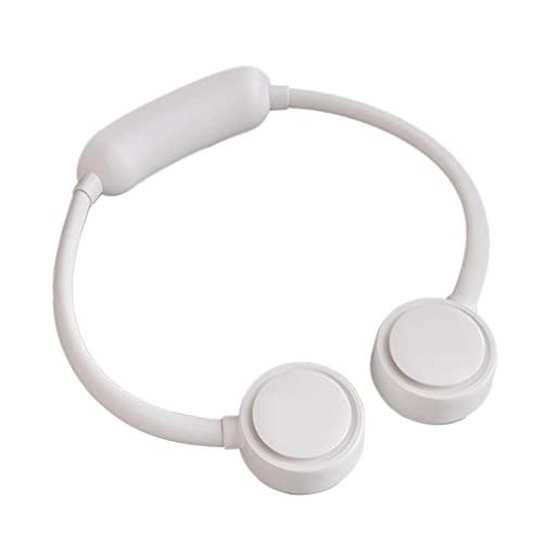 SeniorMar-UK Pas de Lame Portable Mini USB Ventilateur de Cou Ultra Silencieux Refroidisseur Climatiseur sans Feuilles Suspendu Ventilateur De Cou Ventilateur Paresseux Blanc 670x65x33mm