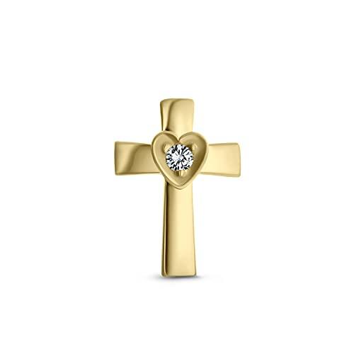 Ani's Pendiente de cartílago con cruz de corazón religioso para hombres y mujeres D/VVS1 diamante en oro amarillo de 14 quilates chapado en plata 925