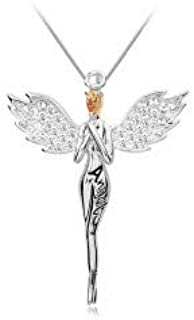 Peora Angel Wings Feather Alloy Cubic Zirconia Pendant Necklace for Women & Girls