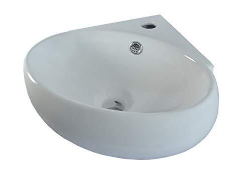 Lavabo angolare Ceramica Lavandino ovale con montaggio a parete Lavello Lavandino da Bagno con Troppopieno 37,5x35x13,5cm