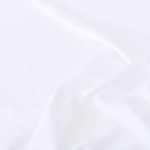 TOLKO Modestoff | Dekostoff universal Stoff zum Nähen Dekorieren | Blickdicht, knitterarm | 150cm breit Meterware (Weiß) uni Bekleidungsstoffe Dekostoffe Vorhangstoffe Nähstoffe Basteln Patchwork Deko