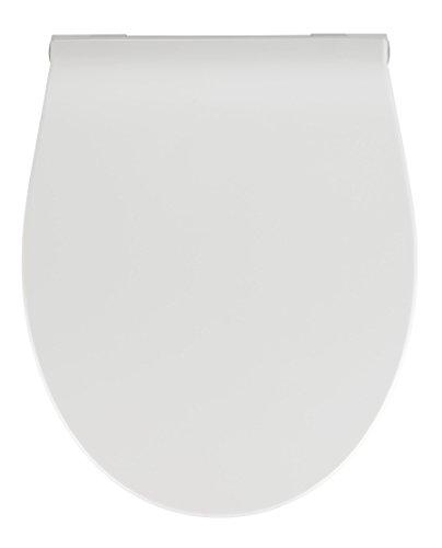 WENKO Premium WC-Sitz LED - Antibakterieller Toilettensitz, mit Nachtlicht und Akustiksensor, Duroplast, 36.8 x 44 cm, Weiß