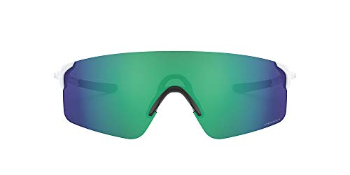 OO9454 Evzero Blades Rectangular Sunglasses, Matte White/Prizm Jade, 38 mm