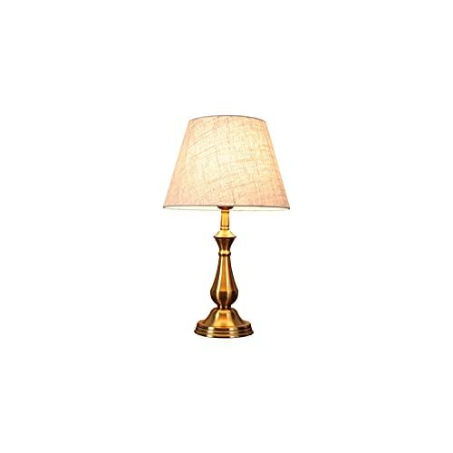 SHUILV Lámpara de Mesa de Noche, lámpara de Mesa de latón con Tono de Color Crema de Lino Estilo Vintage lámpara de Escritorio Antigua Dormitorio Americano lámpara de Noche Moderna Minimalista Lujoso