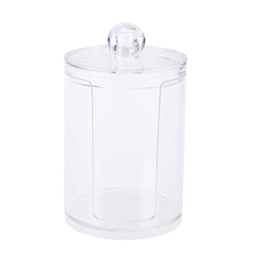 TopbattHY Boîte ronde en plastique transparente avec boule de coton pour bijoux, cosmétiques, maquillage, boîte de rangement