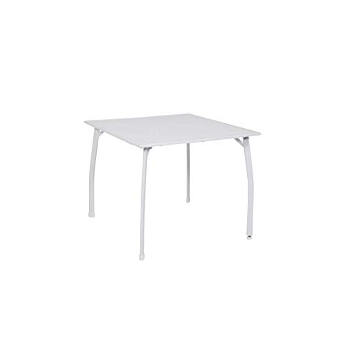 greemotion Table de Jardin Carrée Toulouse 90 x 90 x 74 cm en Acier Revêtu de Plastique, Table à Manger à Niveau Réglable, Blanc