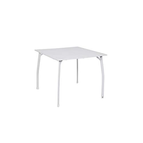 """greemotion Tavolo Tavolino Quadrato da Giardino modello """"Toulouse"""" in Acciaio rivestito in plastica, ca. 90 x 74 x 90 cm, bianco"""