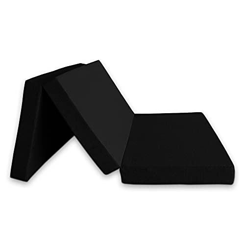 Ventadecolchones - Colchón Plegable con Cierre y Asa - Espuma HR30 (Suave) - 120 cm x 190 cm x 10 cm en Loneta Premium Negro