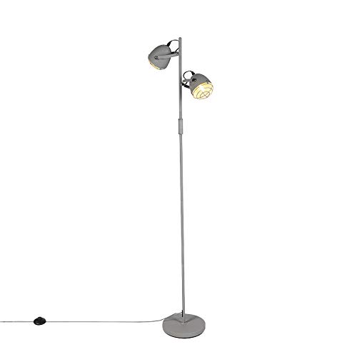 QAZQA Industriële verstelbare vloerlamp grijs 2-lichts - Rebus Staal Langwerpig/Rond Geschikt voor LED Max. 2 x 25 Watt