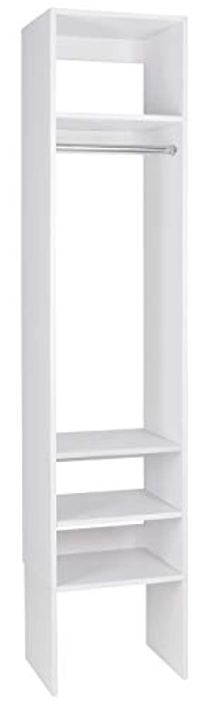 Modular Closets Plywood Hanging Tower with Shelves (White, 30