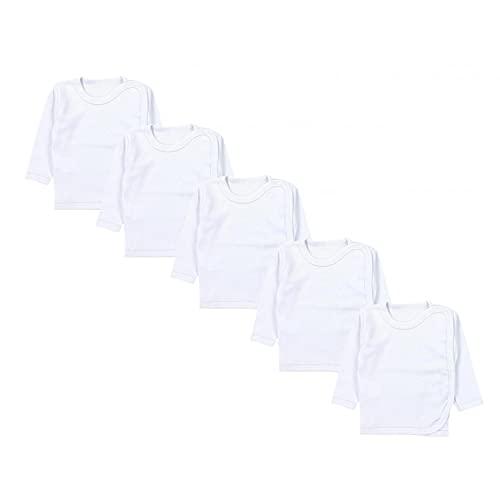 TupTam Camicia per Neonato a Maniche Lunghe, Confezione da 5, Bianco, 56