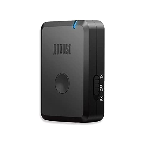 August MR260 Adaptador Bluetooth aptX LL 2-en-1 Receptor y Transmisor Bluetooth aptX LL Adaptador Inalámbrico de Audio para PC, TV, Cascos, Smartphone, Tablet, RCA & 3.5mm AUX