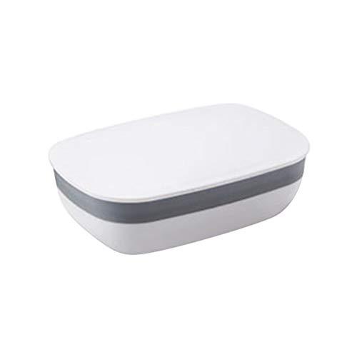 SUPVOX zeepbakje box zeepdoos houder met afvoer afdekking waterdicht draagbaar voor badkamer reis (wit)