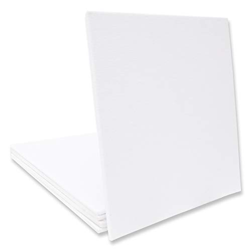 Eono by Amazon - Canvas Panels 15cm x 15cm Conjunto de 5 Piezas en Blanco 100% algodón