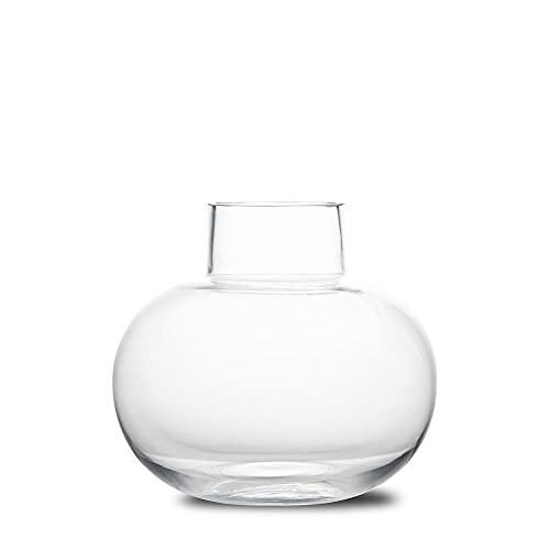 BY ON Jarrón Odense | transparente | Florero de cristal | Jarrón redondo | Decoración de mesa para salón & comedor | Jarrón decorativo para salón, dormitorio, baño, alféizar de ventana o cómoda