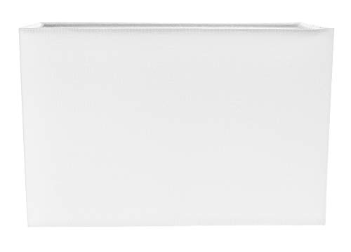 Pantalla de lámpara rectangular de tela de lino blanca contemporánea y elegante por Happy Homewares